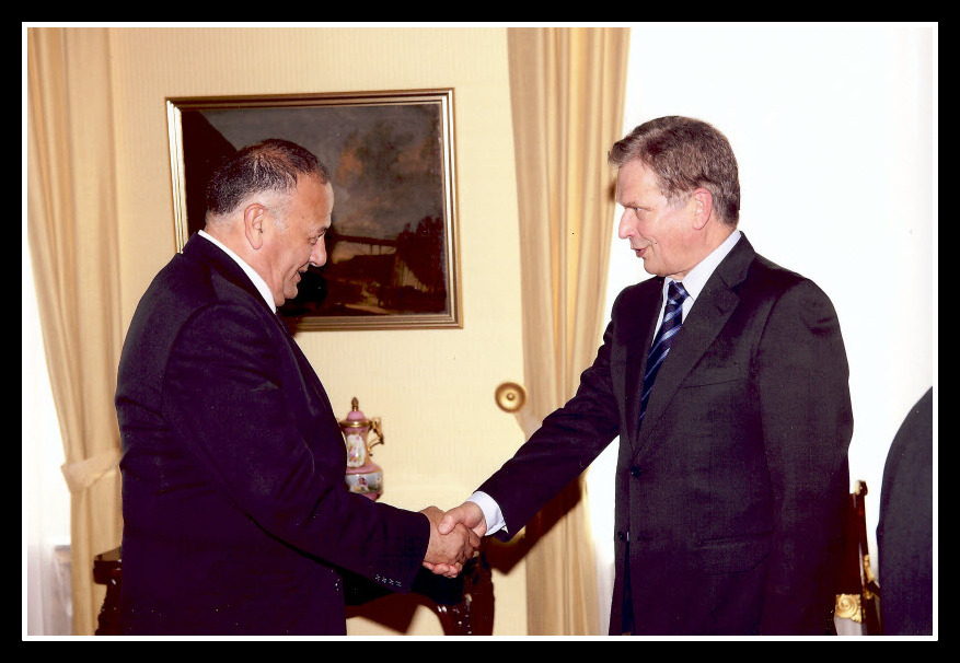 President Sauli Niinistö welcomes Mr. Yuval Yerushalmi at his office in Helsinki